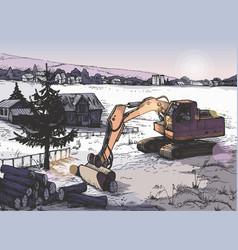 farm rural landscape background in vector image
