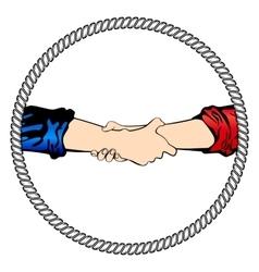 Logo shake hand business vector