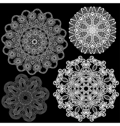 Set of Abstract circle lace patterns vector image vector image