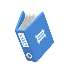 document 3d icon blue paper object vector image