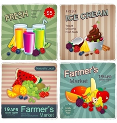Hand drawn set of vintage fruit banners vector image