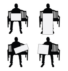 man silhouette siting on chair with card set on vector image vector image