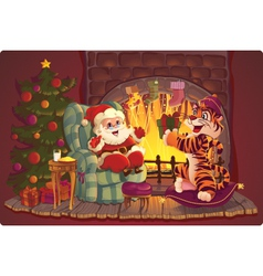 Santa Claus and Tiger vector image vector image