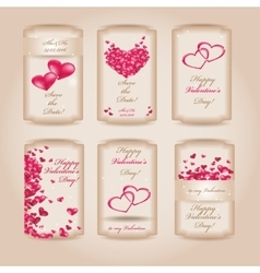Set of Happy Valentines Day tags vector image