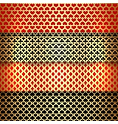 set of seamless patterns with playing cards suits vector image