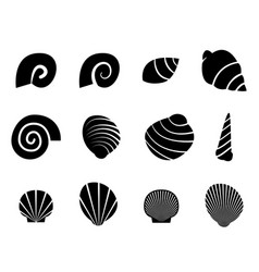 set of shell in silhouette tattoo style vector image