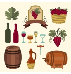 Set of wine icons elements and objects vector image