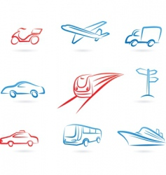 transport icons and logos vector image