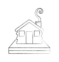 wooden cabin house chimney camp exterior vector image