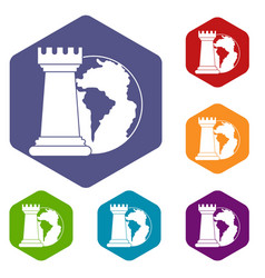world planet and chess rook icons set hexagon vector image