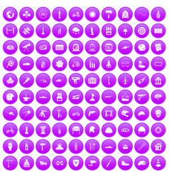 100 helmet icons set purple vector