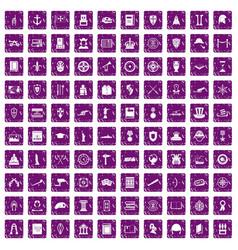 100 history icons set grunge purple vector