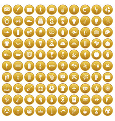 100 south america icons set gold vector image