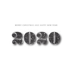 2020 happy new year black glitter number holiday vector image