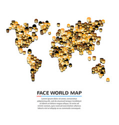 a set of smiling faces shaped as a map vector image