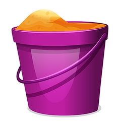 A violet pail with sand vector