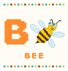 alphabet for children letter b and a bee isolated vector image