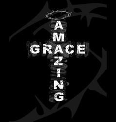 amazing grace cross lettering vector image