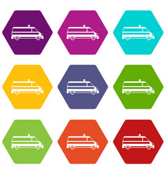 ambulance car icon set color hexahedron vector image