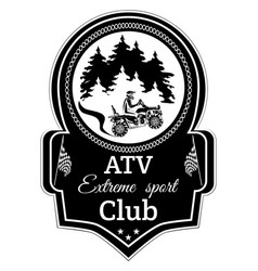 Atv quad bike extreme sport club emblem vector