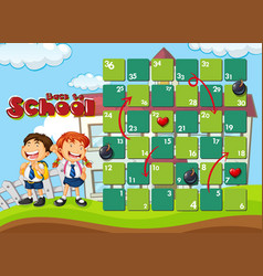 Back to school board game template vector