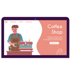 banner barista making coffee in paper vector image