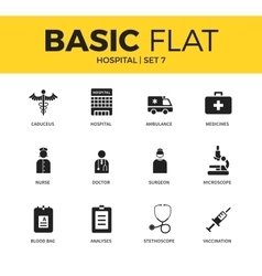 Basic set of Hospital icons vector image