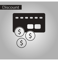 black and white style icon bank card vector image