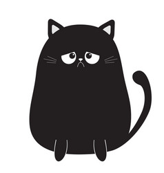 Black cute sad grumpy cat kitten bad emotion vector