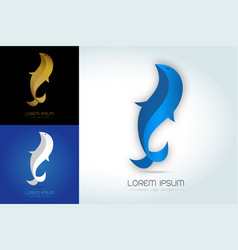 blue-white-gold fish abstract logo vector image