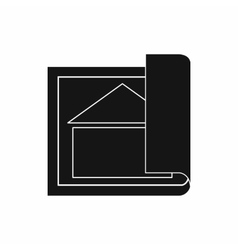 Building plan icon simple style vector image