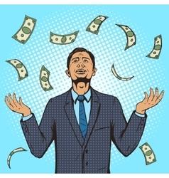 Businessman under the money rain pop art vector