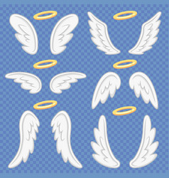 Cartoon angel wings holy angelic nimbus and vector