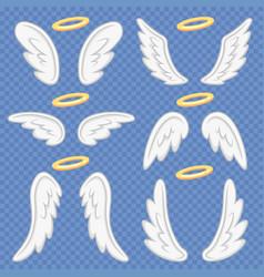 Cartoon angel wings holy angelic nimbus vector