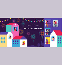 celebration at home with neighbors people vector image