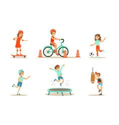 Children doing different kind sports set teen vector
