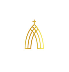 Church abstract minimalistic golden logo on white vector