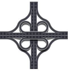 cloverleaf interchange two level four way vector image
