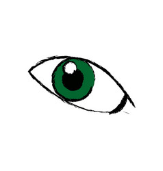 Comic green eye look optical style vector