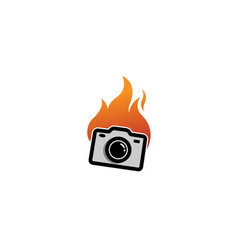 creative cute abstract camera fire logo design vector image