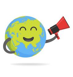 cute cartoon earth character world map globe vector image