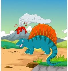 Cute dinosaur cartoon with volcano background vector