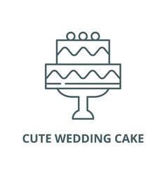 cute wedding cake line icon linear concept vector image