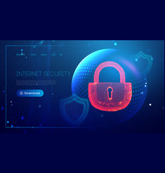 cyber security red lock sphere shield internet vector image