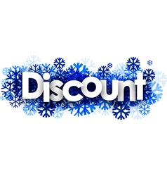 Discount banner with blue snowflakes vector image