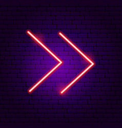Double line arrow neon sign vector