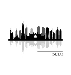 Dubai skyline panoramic view vector