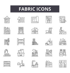 fabric line icons signs set outline vector image