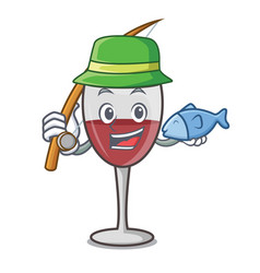 Fishing wine mascot cartoon style vector