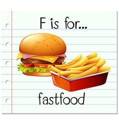 Flashcard letter F is for fastfood vector image